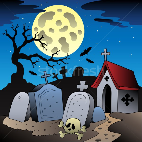 Halloween scenery with cemetery 1 Stock photo © clairev
