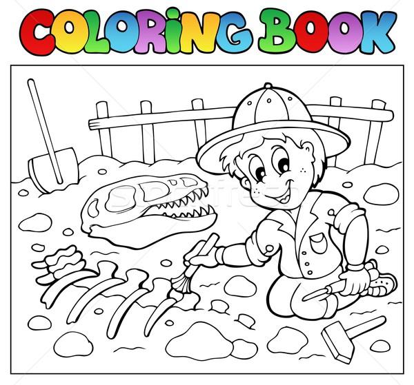 Coloring book dinosaur excavator Stock photo © clairev