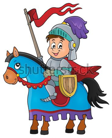 Cartoon knight sitting on horse Stock photo © clairev