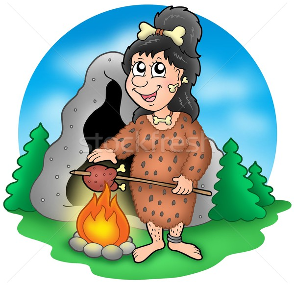 Cartoon prehistoric woman before cave Stock photo © clairev