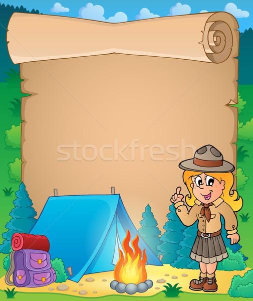 Pergaminho escoteiro menina feliz criança arte Foto stock © clairev