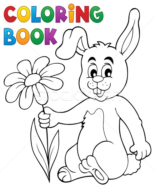 Coloring book Easter bunny with flower Stock photo © clairev