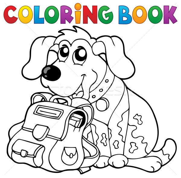 Coloring Book Dog With Schoolbag Theme 1 Vector Illustration