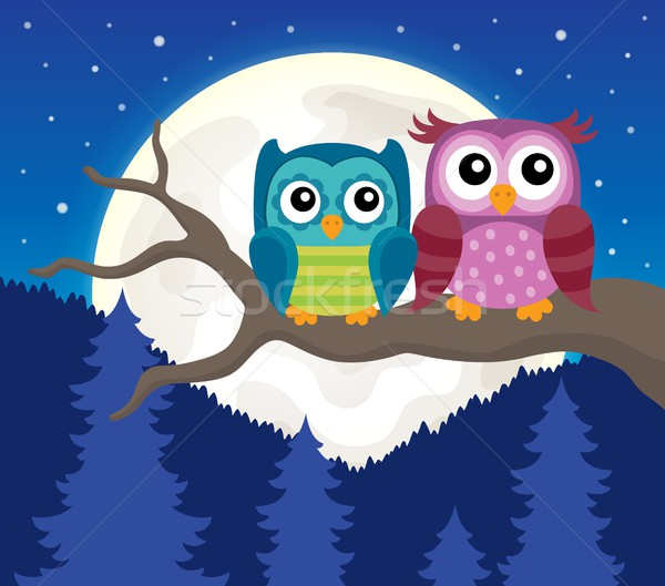 Stylized owls on branch theme image 3 Stock photo © clairev