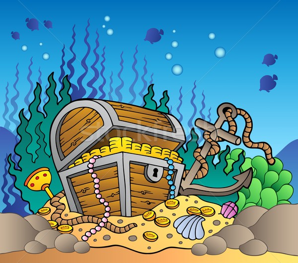 Sea bottom with old treasure chest Stock photo © clairev