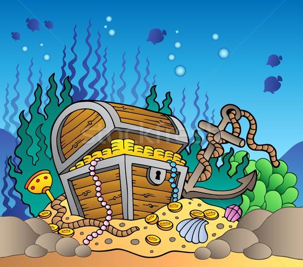 Zee bodem oude schatkist geld ontwerp Stockfoto © clairev