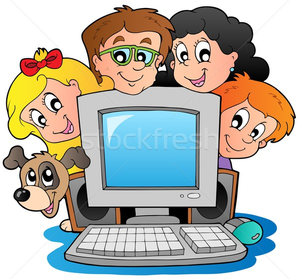 Stock photo: Computer with cartoon kids and dog