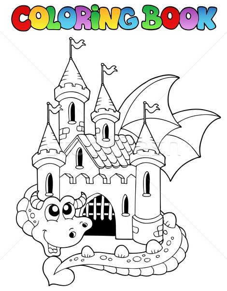 Coloring book castle and big dragon Stock photo © clairev