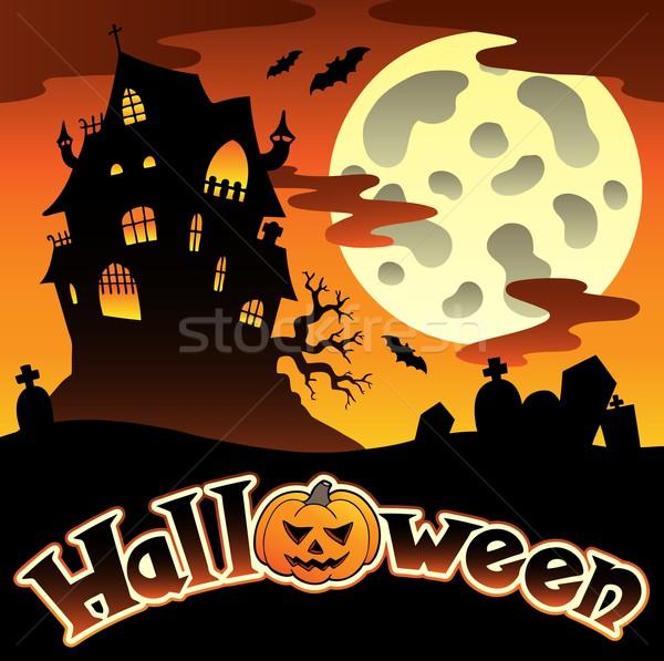 Halloween cenário assinar arte noite outono Foto stock © clairev