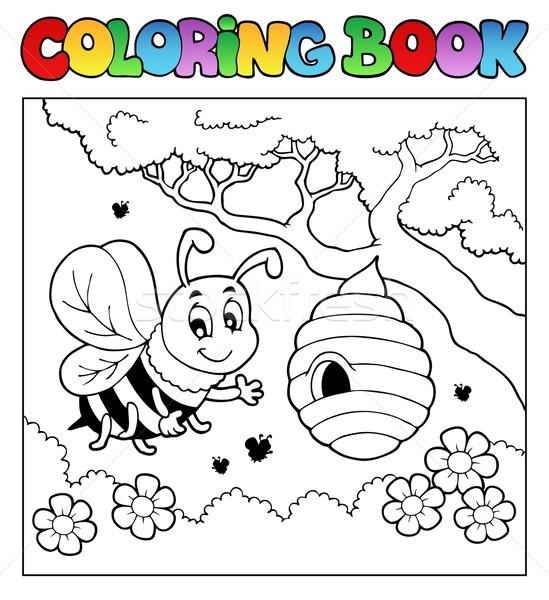 Kifestőkönyv bogarak kép tavasz könyv boldog Stock fotó © clairev