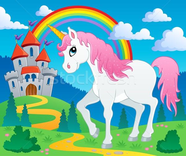 Cuento de hadas imagen feliz caballo arte dibujo Foto stock © clairev