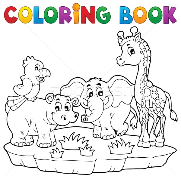 Coloring book African fauna 2 Stock photo © clairev