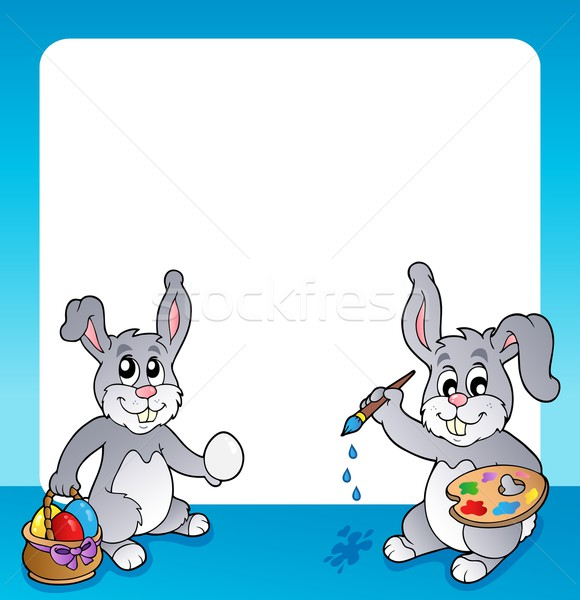 Сток-фото: кадр · Пасхальный · заяц · тема · Пасху · весны · кролик