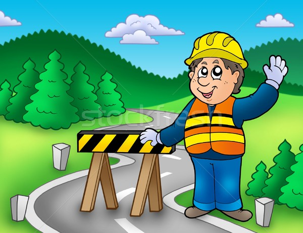 Construction worker standing on road Stock photo © clairev