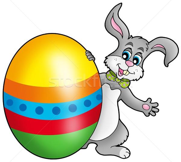 Húsvéti nyuszi színes tojás szín illusztráció boldog Stock fotó © clairev