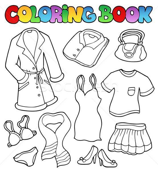 Boyama Kitabı Elbise Toplama Kitap Boya Sanat Vektör