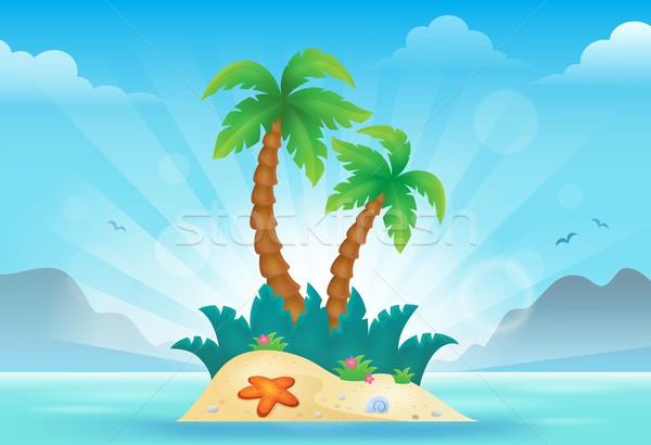 Tropical island görüntü su doğa sanat palmiye Stok fotoğraf © clairev