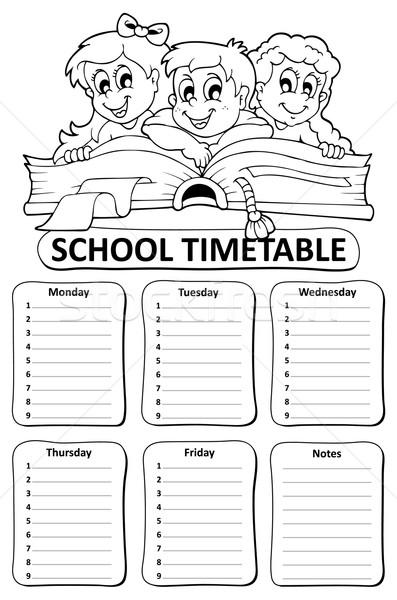 Zwart wit school dienstregeling kinderen boek gelukkig Stockfoto © clairev