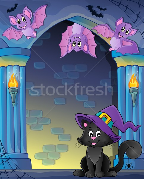 Wall alcove with Halloween cat and bats Stock photo © clairev