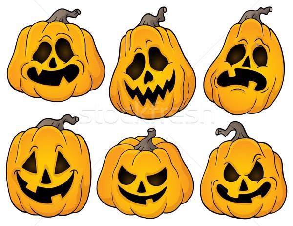 Foto stock: Halloween · abóboras · conjunto · cara · arte · outono