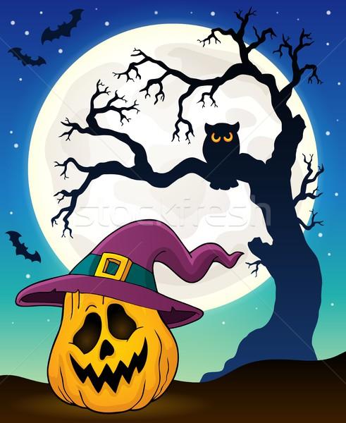 Dynia kapelusz czarownicy obraz twarz księżyc sztuki Zdjęcia stock © clairev