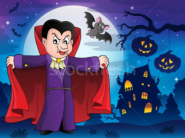 Vampire in Halloween scenery 1 Stock photo © clairev