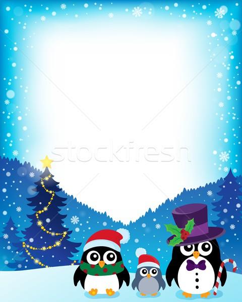 Quadro estilizado natal neve pássaro aves Foto stock © clairev