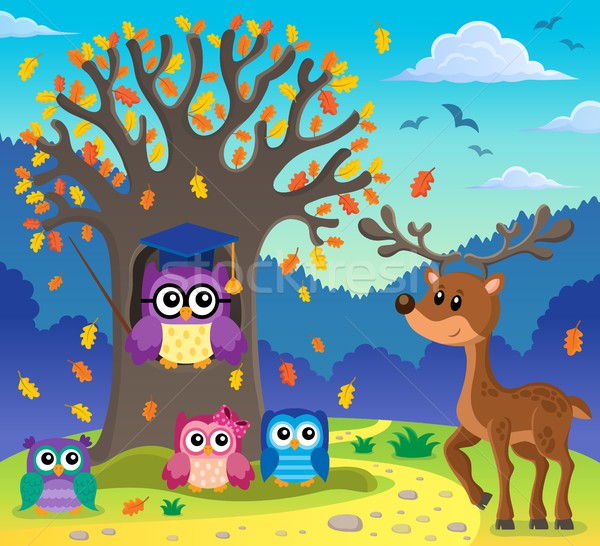 Tree with stylized school owl theme 5 Stock photo © clairev