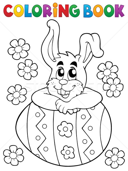 Coloring book Easter rabbit theme 4 Stock photo © clairev