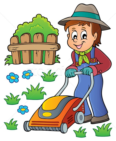 Gardener with lawn mower theme image 1 Stock photo © clairev