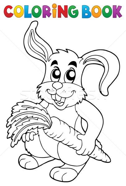 Coloring book rabbit theme 5 Stock photo © clairev