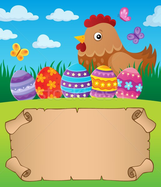 Small parchment with Easter hen 1 Stock photo © clairev