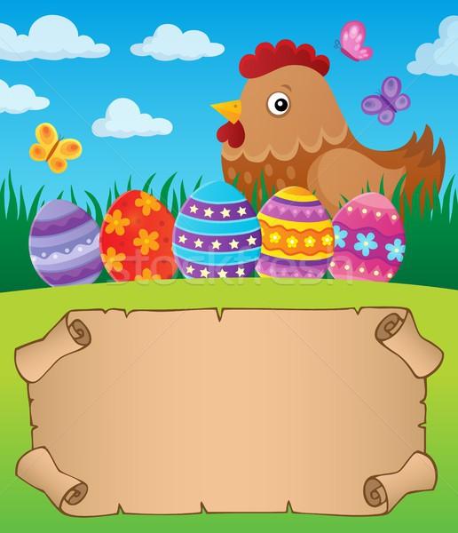 Mały pergamin Wielkanoc kura papieru Motyl Zdjęcia stock © clairev