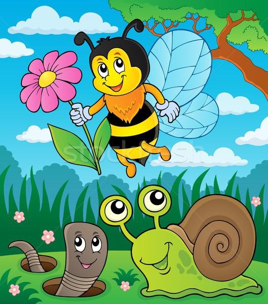 Pradera pequeño animales insectos feliz naturaleza Foto stock © clairev