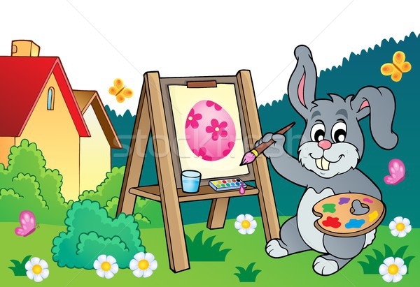 Easter bunny painter theme 3 Stock photo © clairev