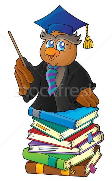 Owl teacher on stack of books theme 1 Stock photo © clairev