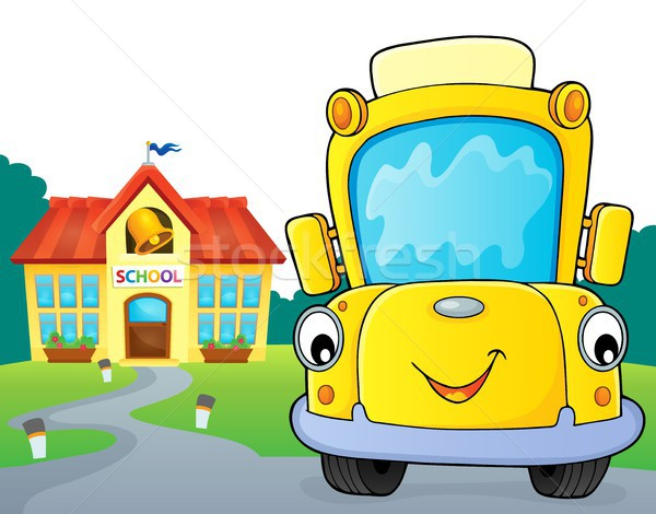スクールバス 画像 笑顔 眼 顔 建物 ストックフォト © clairev