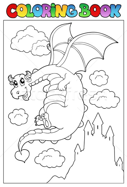 Coloring book with dragon 2 Stock photo © clairev