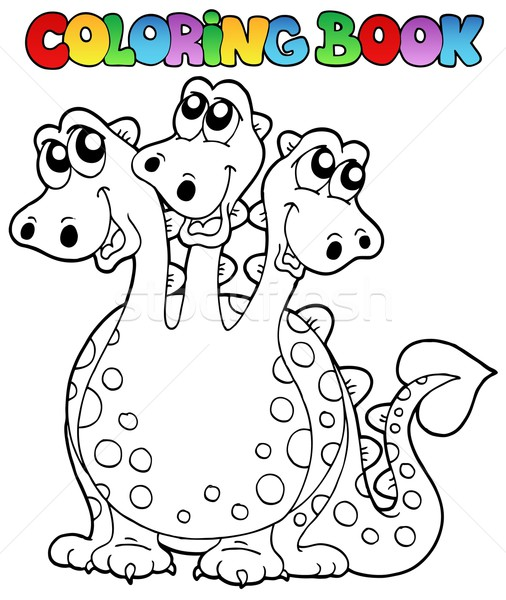 Coloring book three headed dragon Stock photo © clairev