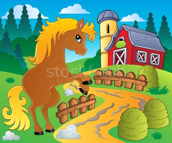 Foto stock: Cavalo · imagem · feliz · arte · caminho · gráfico
