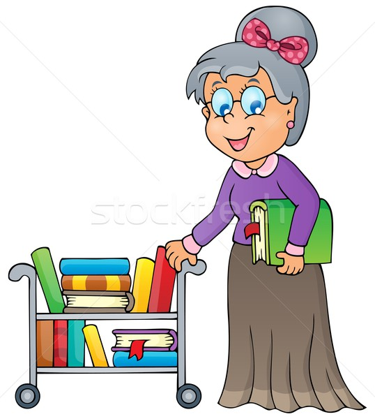 Imagem bibliotecário mulher sorrir livros projeto Foto stock © clairev
