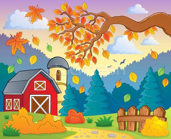 Sonbahar Manzara Yaprak Yaprakları çit çizim Vektör