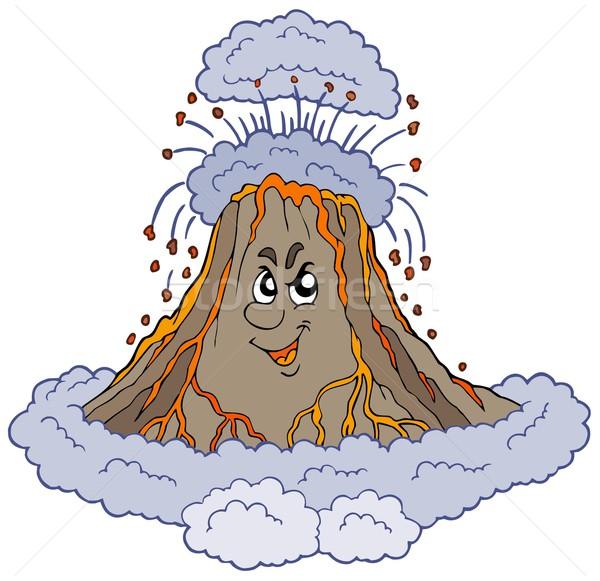 Foto stock: Zangado · desenho · animado · vulcão · cara · olhos · natureza