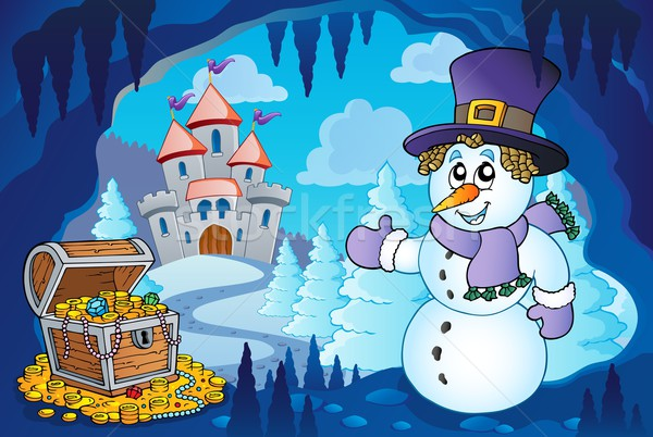 Winter cave with snowman Stock photo © clairev