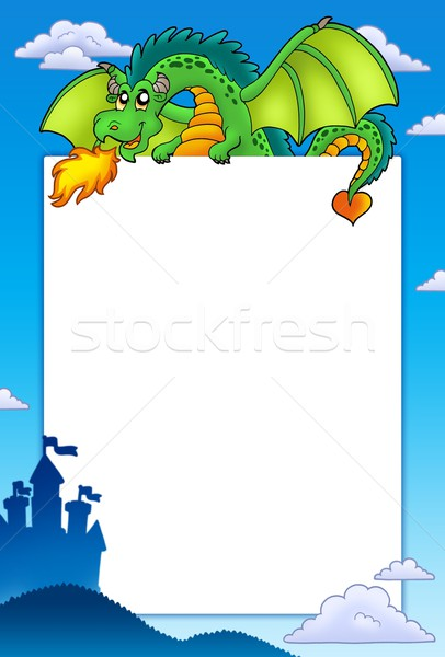 Stock photo: Frame with green dragon and castle