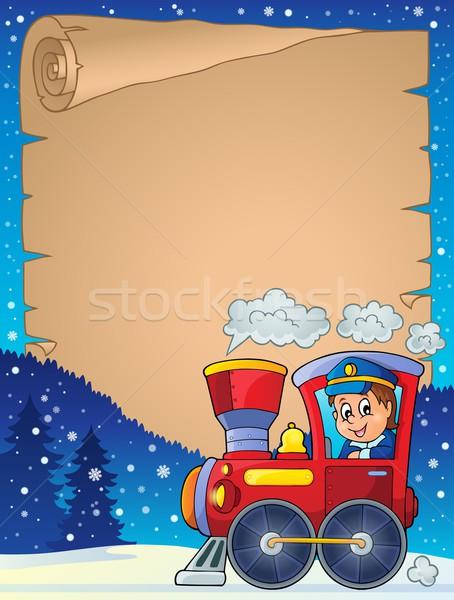 Hiver parchemin locomotive homme heureux travaux Photo stock © clairev