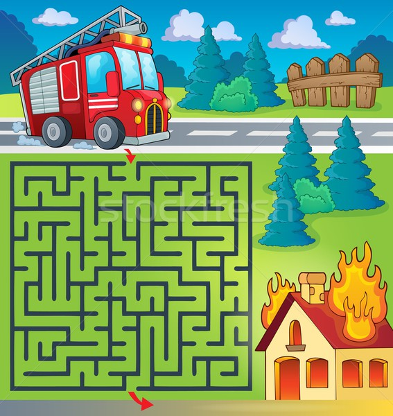 Maze 3 with fire truck theme Stock photo © clairev