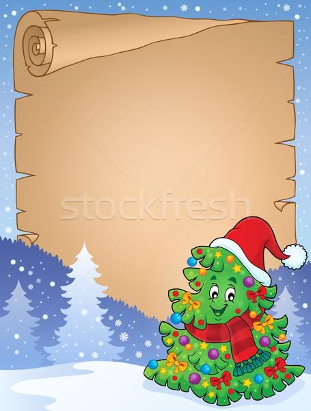 羊皮紙 クリスマスツリー トピック ツリー 顔 芸術 ストックフォト © clairev