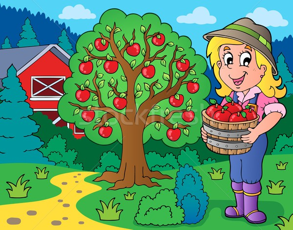 Farm girl with collected apples Stock photo © clairev