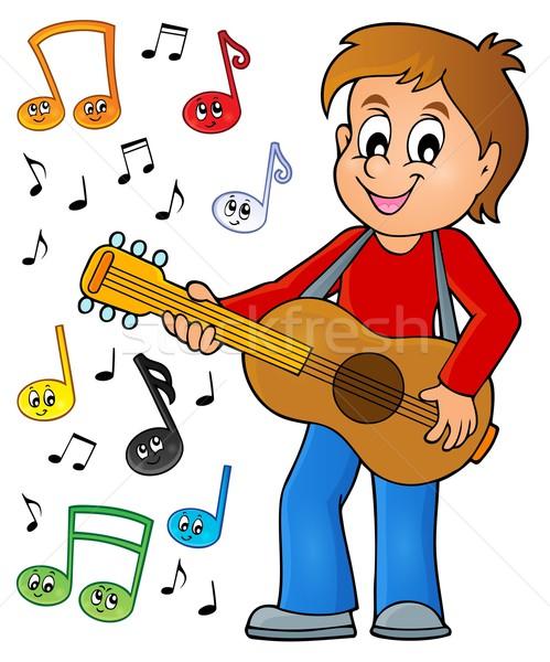 Fiú gitáros kép mosoly gitár gyermek Stock fotó © clairev